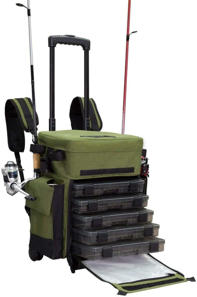 Elkton Outdoors Rolling Waterproof Fishing Tackle Storage Bag Backpack