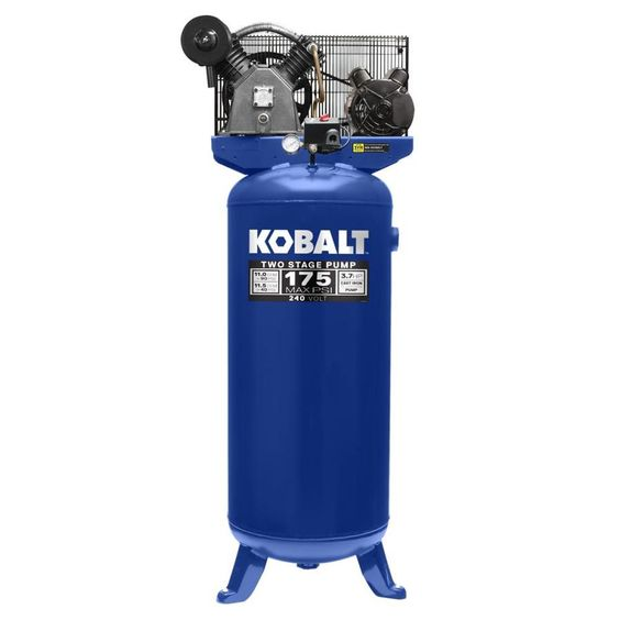 Kobalt 60-Gallon Two Stage Corded Electric Vertical Air Compressor Accessories Included